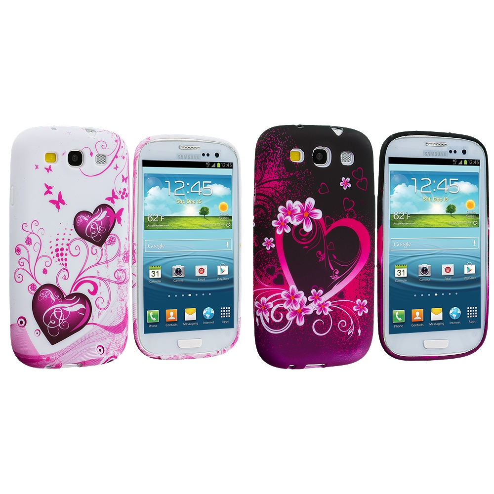Samsung Galaxy S3 2 in 1 Combo Bundle Pack - Pink Heart White TPU Design Soft Case Cover