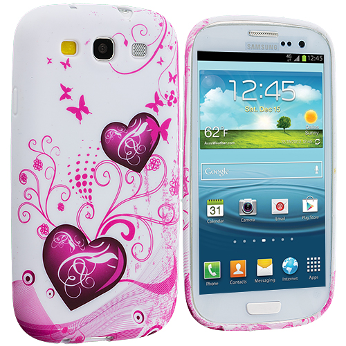Samsung Galaxy S3 Pink Heart on White TPU Design Soft Case Cover