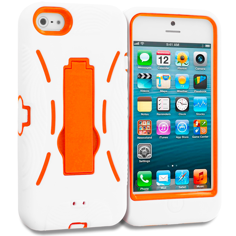 Apple iPhone 5/5S/SE Combo Pack : White / Baby Blue Hybrid Heavy Duty Hard/Soft Case Cover with Stand : Color White / Orange