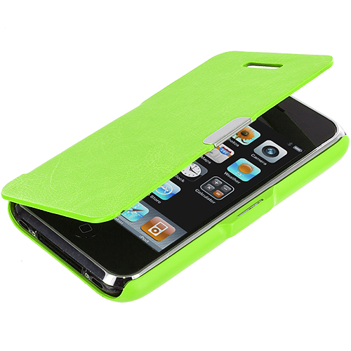 Apple iPhone 3G / 3GS Neon Green Texture Magnetic Wallet Case Cover Pouch
