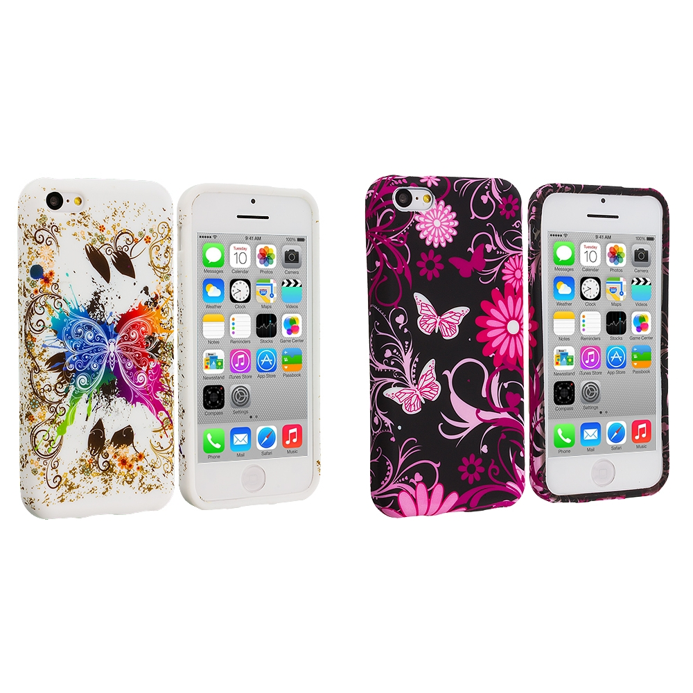 Apple iPhone 5C 2 in 1 Combo Bundle Pack - Butterfly Flower TPU Design Soft Case Cover