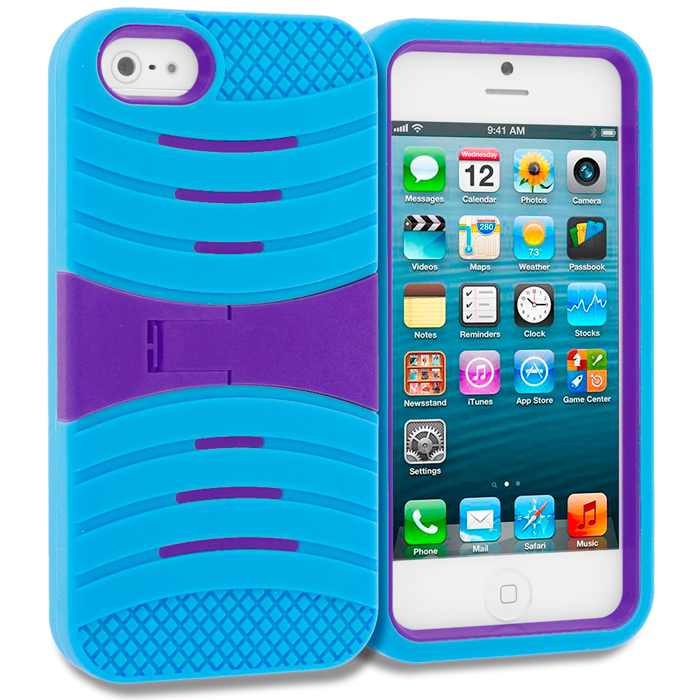 Apple iPhone 5/5S/SE Baby Blue / Purple Hybrid Hard/Silicone Case Cover with Stand