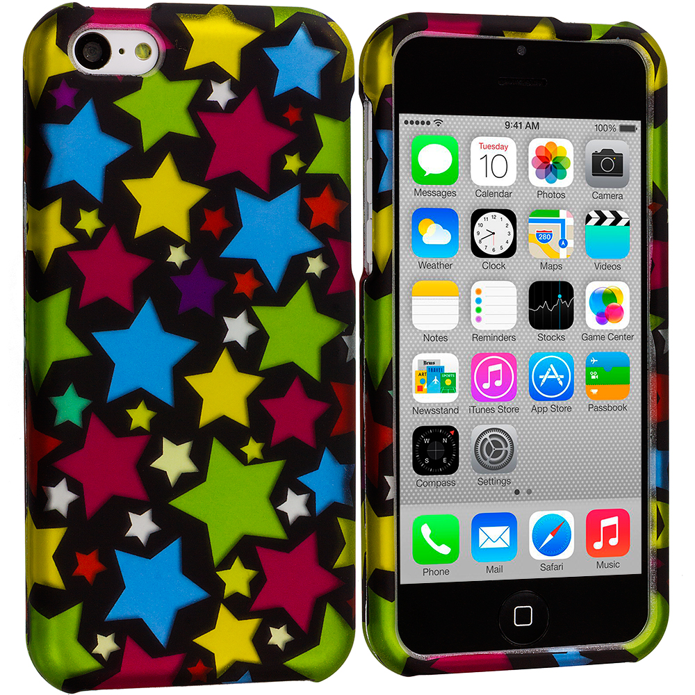 Apple iPhone 5C 2 in 1 Combo Bundle Pack - Star Clan Hard Rubberized Design Case Cover : Color Star Clan