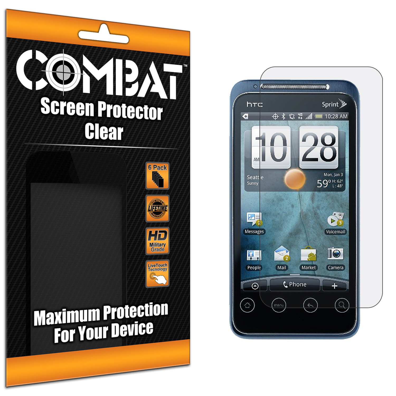 HTC EVO Shift 4G Combat 6 Pack HD Clear Screen Protector