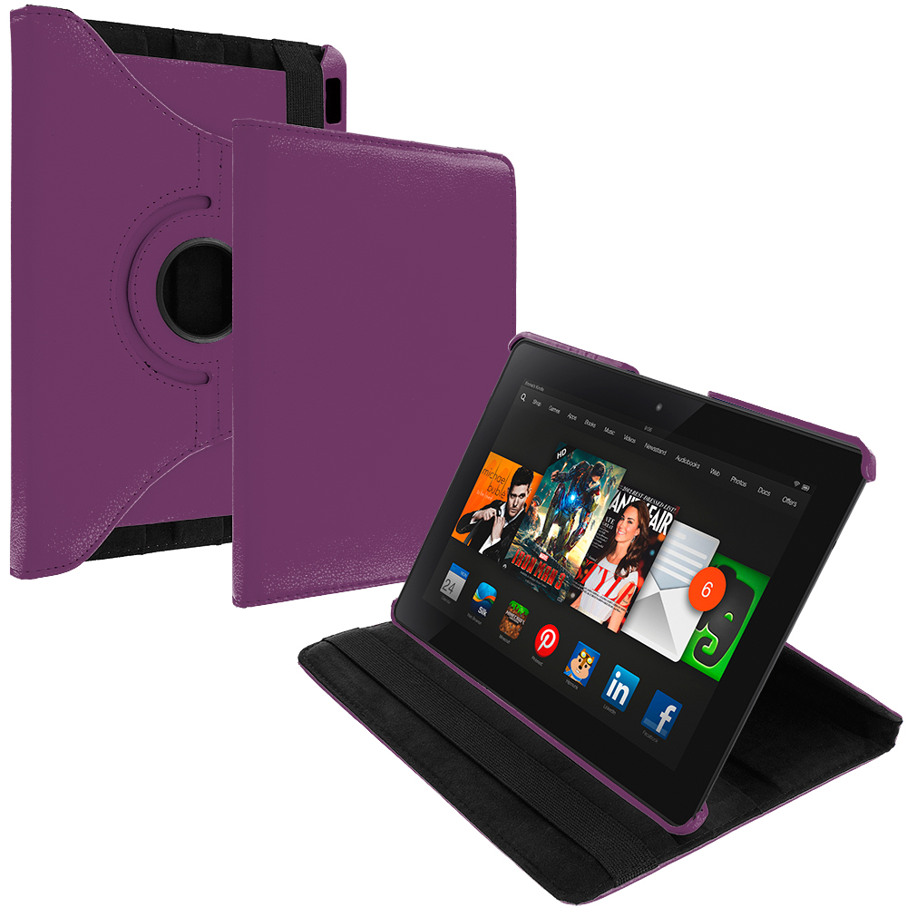 Amazon Kindle Fire HDX 8.9 Purple 360 Rotating Leather Pouch Case Cover Stand
