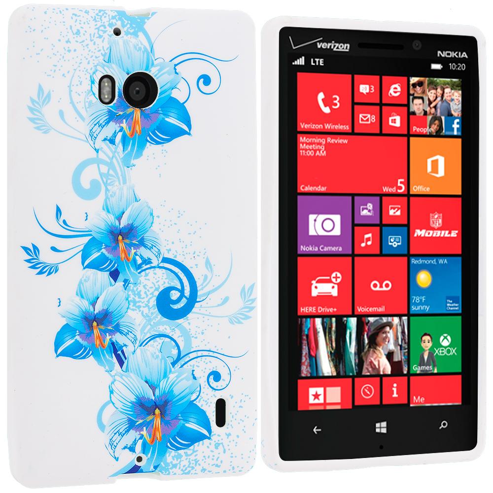 Nokia Lumia 929 Icon Blue White FLower TPU Design Soft Case Cover