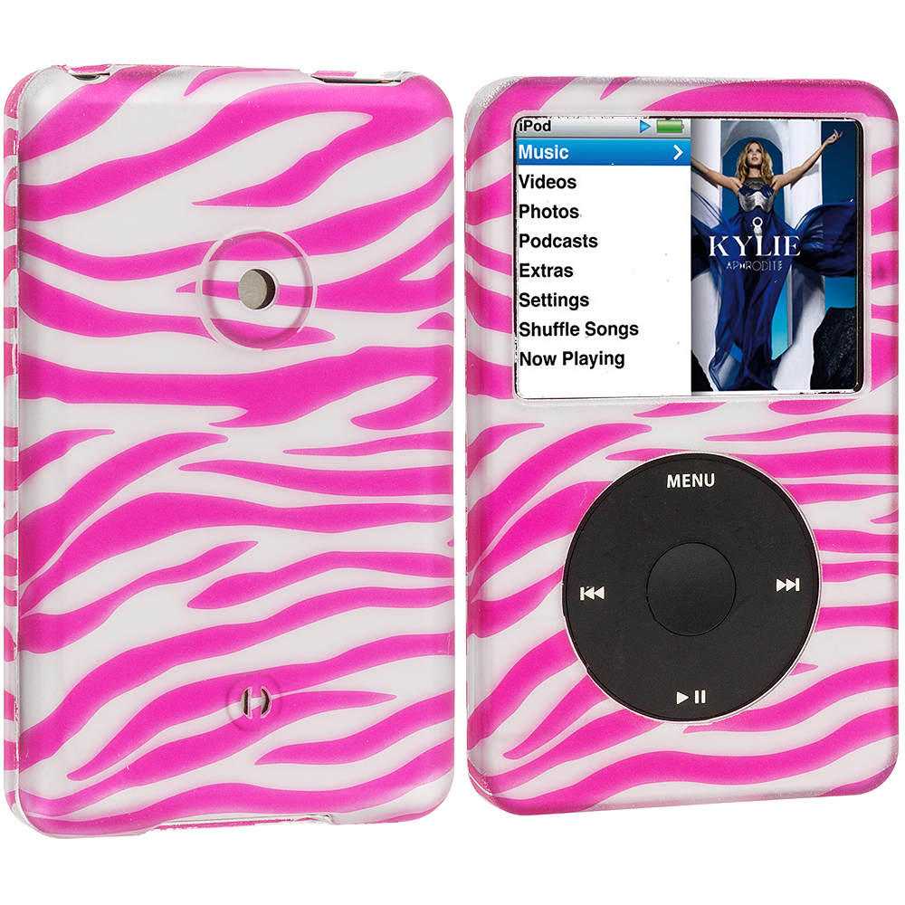 Apple iPod Classic Pink / Silver Zebra Hard Rubberized Design Case Cover