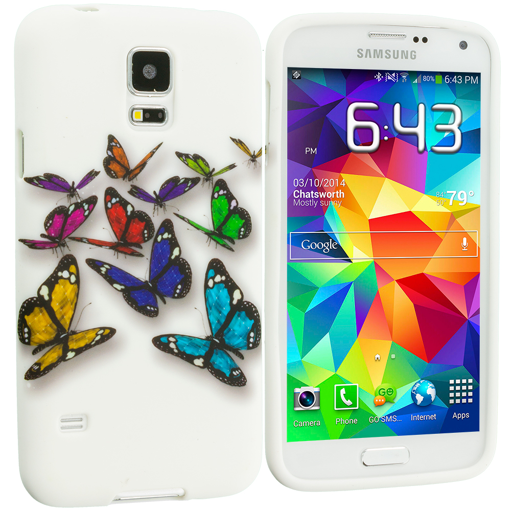 Samsung Galaxy S5 Blue Colorful Butterfly TPU Design Soft Case Cover