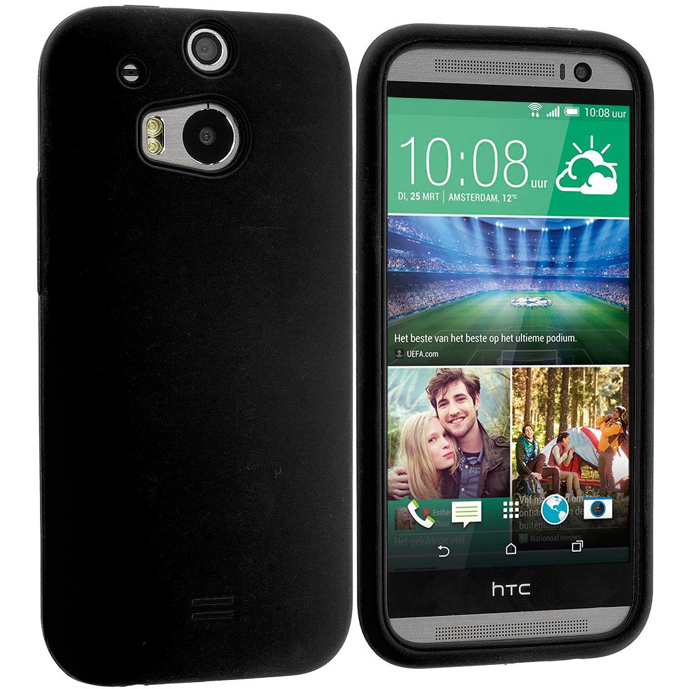 HTC One M8 Black Silicone Soft Skin Case Cover