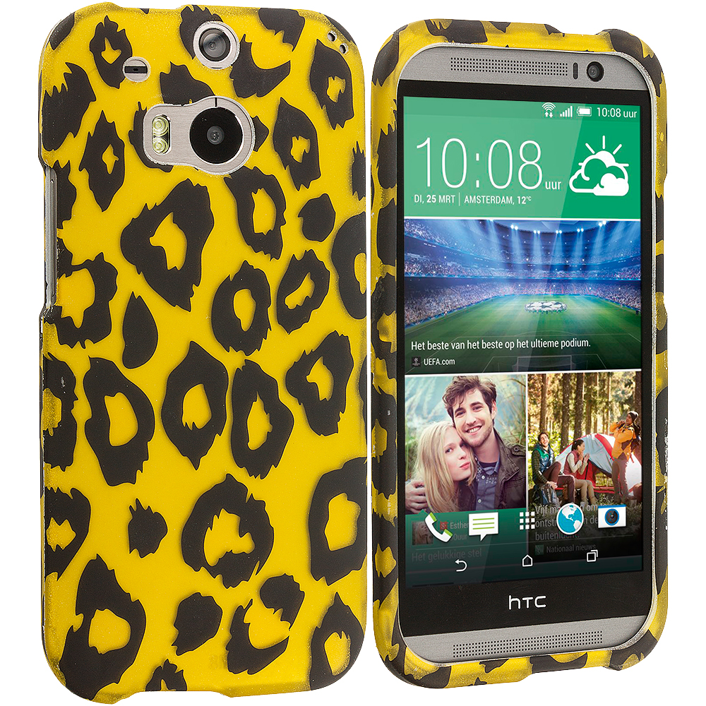 HTC One M8 Black Leopard on Golden 2D Hard Rubberized Design Case Cover