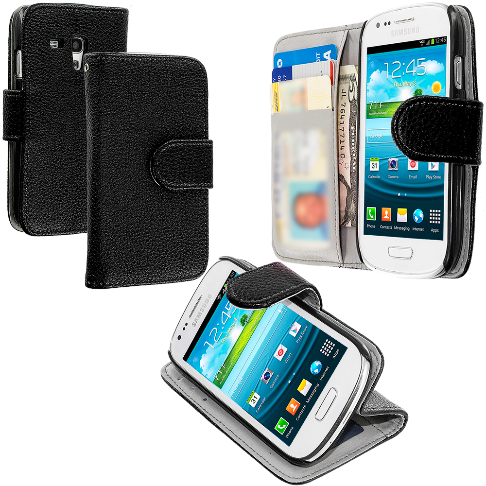 Samsung Galaxy S3 Mini Black Leather Wallet Pouch Case Cover with Slots