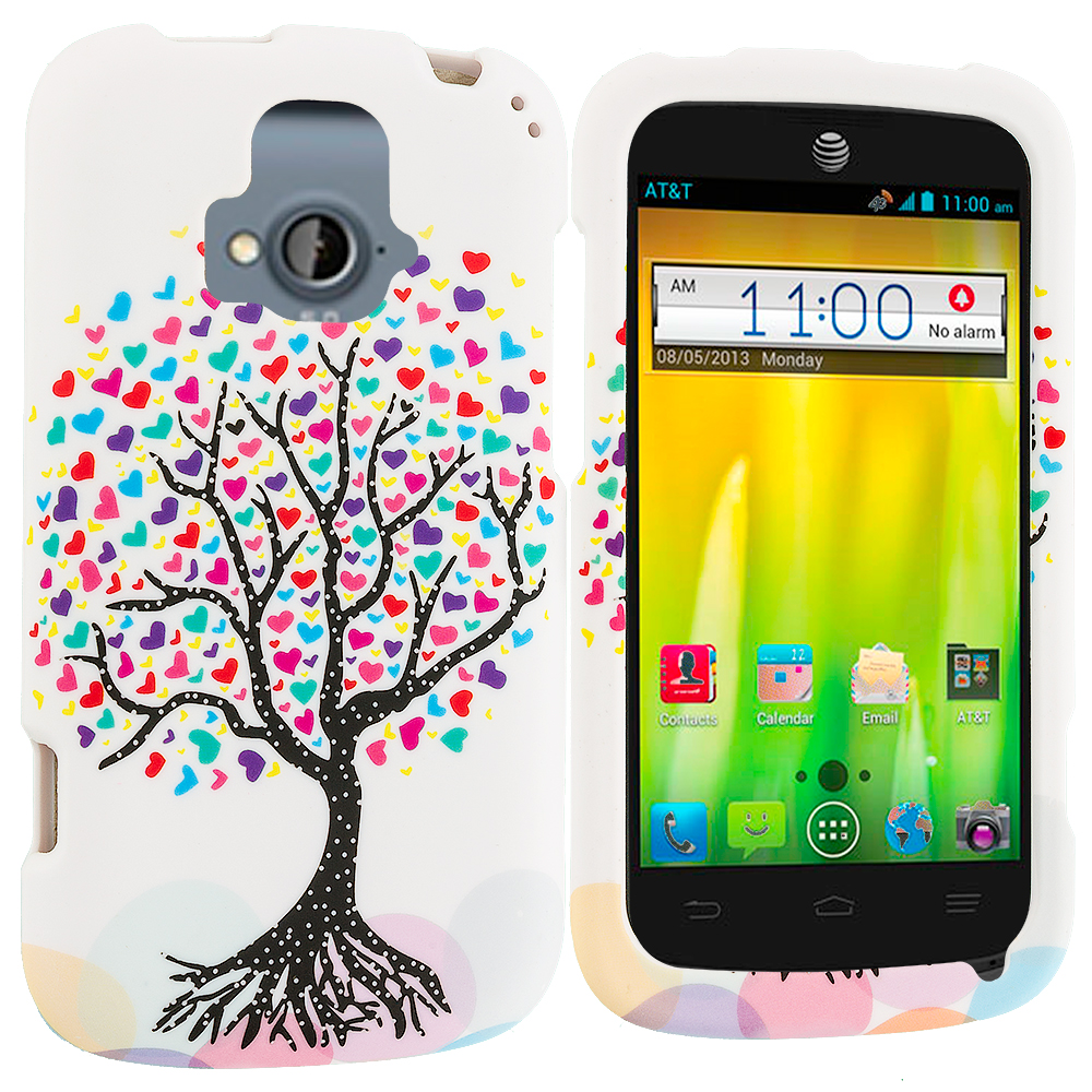 ZTE Radiant Love Tree on White Hard Rubberized Design Case Cover