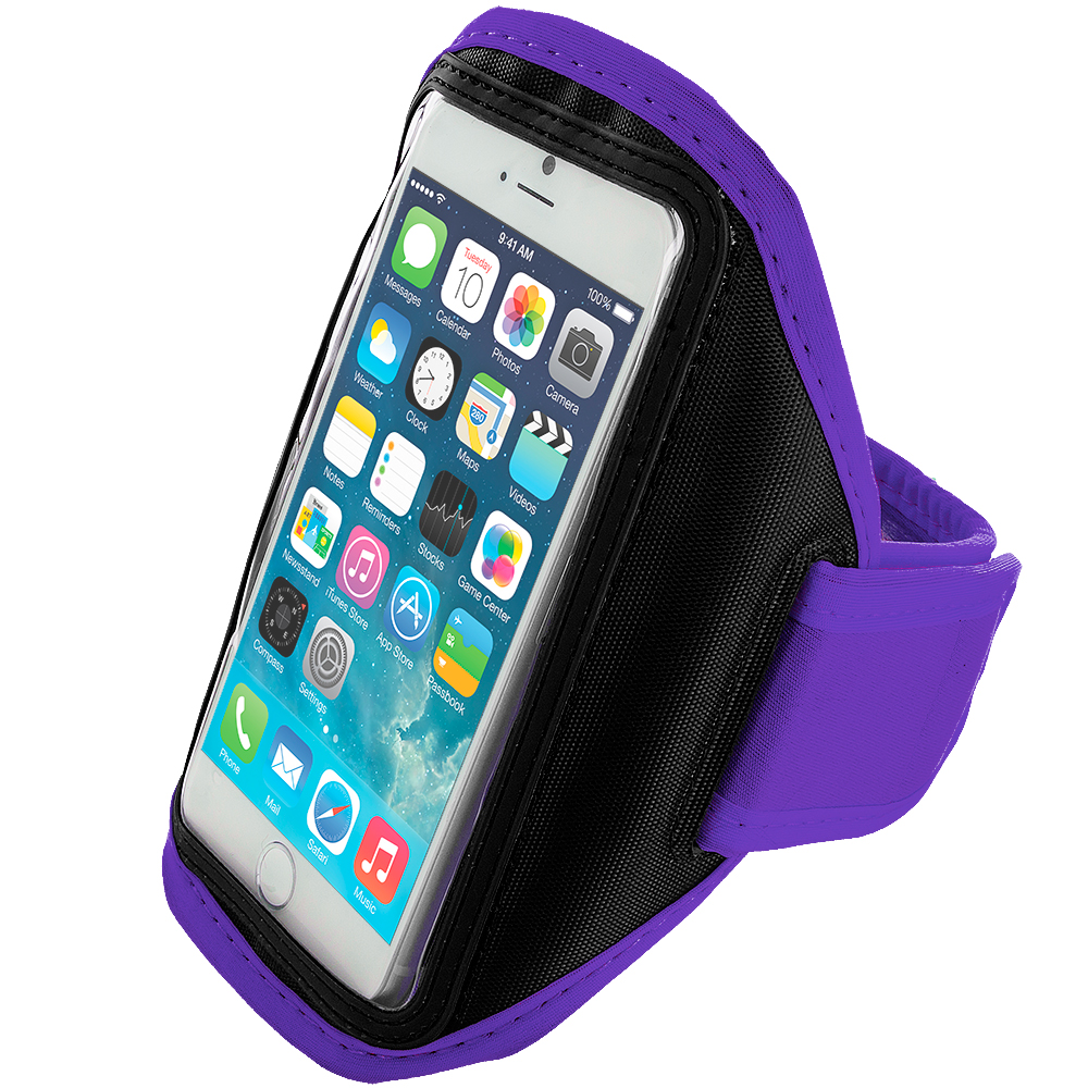 Apple iPhone 6 6S (4.7) 4 in 1 Combo Bundle Pack - Running Sports Gym Armband : Color Purple