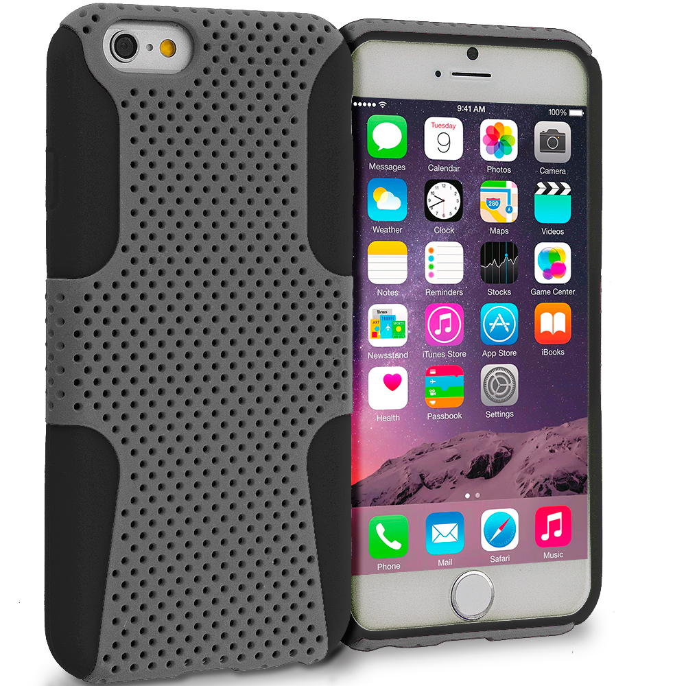 Apple iPhone 6 6S (4.7) 4 in 1 Combo Bundle Pack - Hybrid Mesh Hard/Soft Case Cover : Color Black / Smoke