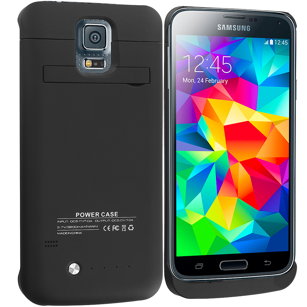 Samsung Galaxy S5 Black 3800mAh External Backup Battery Case Cover