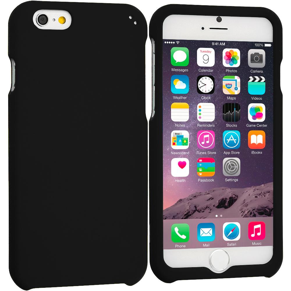 Apple iPhone 6 Plus 6S Plus (5.5) Black Hard Rubberized Case Cover