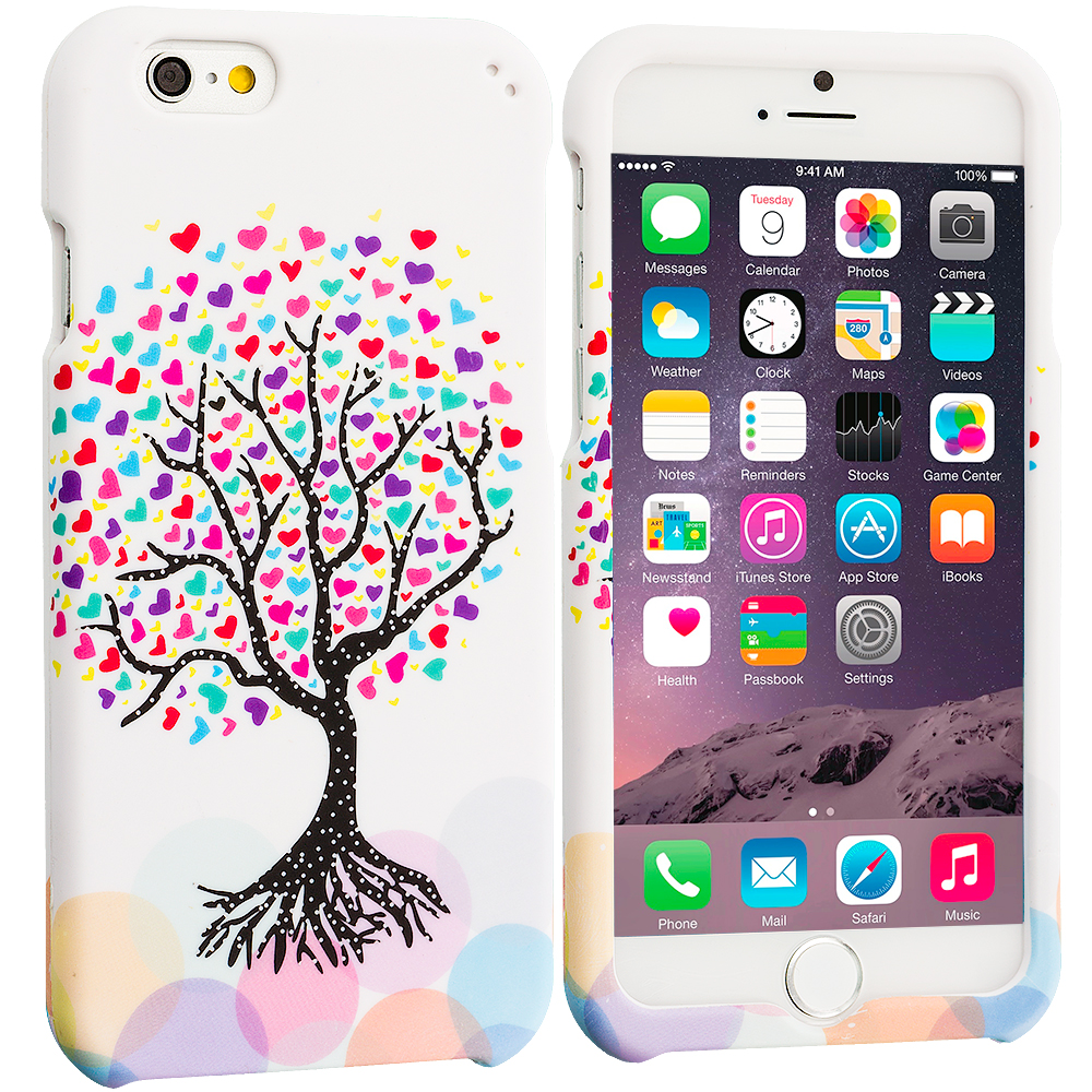 Apple iPhone 6 Plus 6S Plus (5.5) Love Tree on White Hard Rubberized Design Case Cover