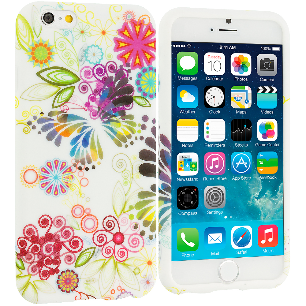 Apple iPhone 6 Plus 6S Plus (5.5) Flower Rainbow Colorful TPU Design Soft Rubber Case Cover