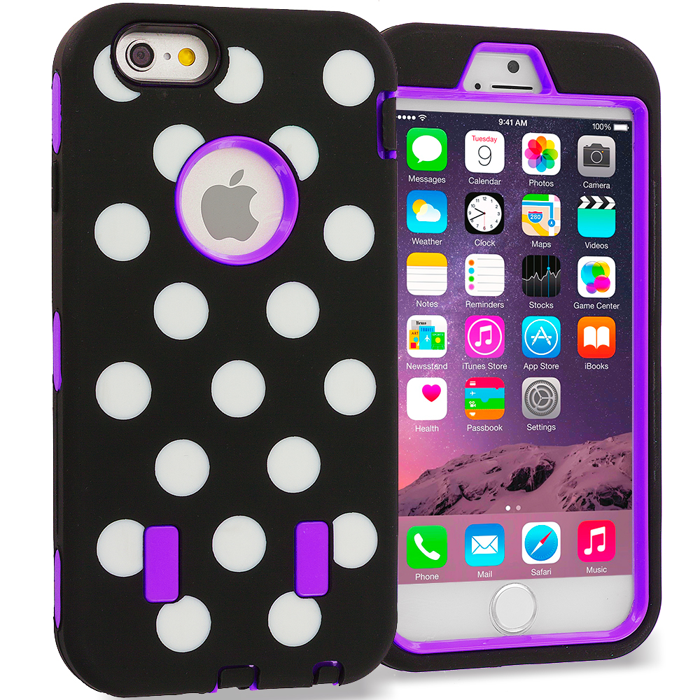 Apple iPhone 6 Purple Polka Dot Hybrid Deluxe Hard/Soft Case Cover