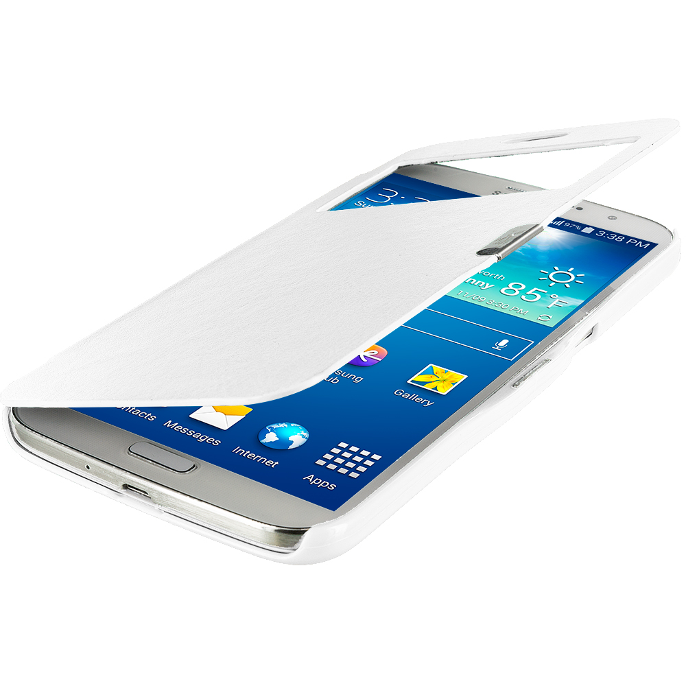 Samsung Galaxy Mega 6.3 White (Open) Magnetic Flip Wallet Case Cover Pouch