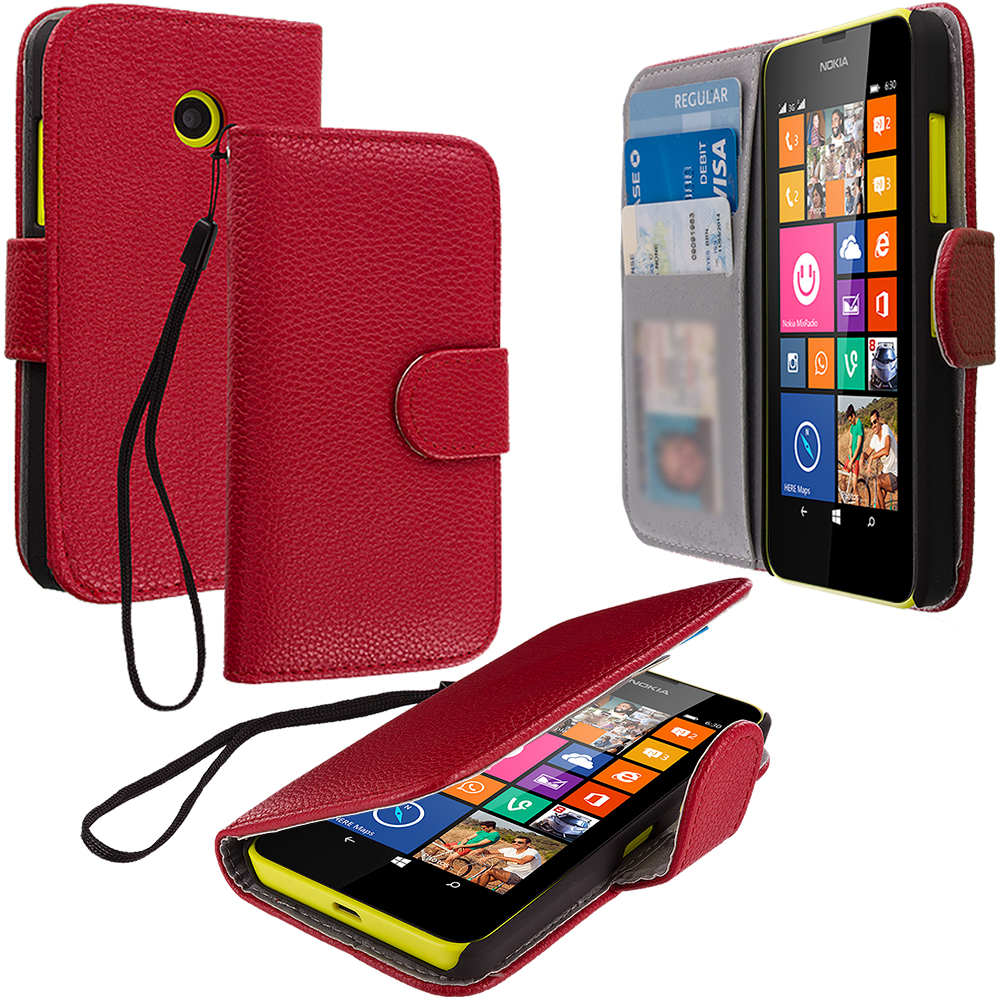 Nokia Lumia 630 635 Red Leather Wallet Pouch Case Cover with Slots