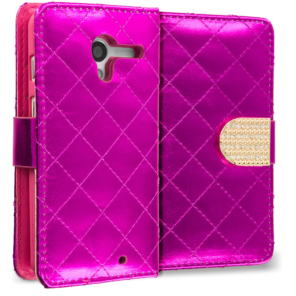 Motorola Moto X 2 in 1 Combo Bundle Pack - Teal Pink Luxury Wallet Diamond Design Case Cover With Slots : Color Hot Pink