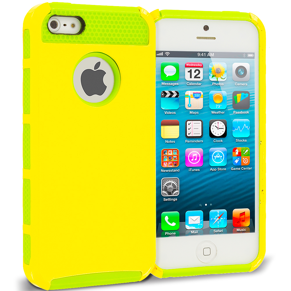 Apple iPhone 5 / 5S Combo Pack : Brown / Baby Blue Hybrid Hard TPU Honeycomb Rugged Case Cover : Color Neon Green / Yellow
