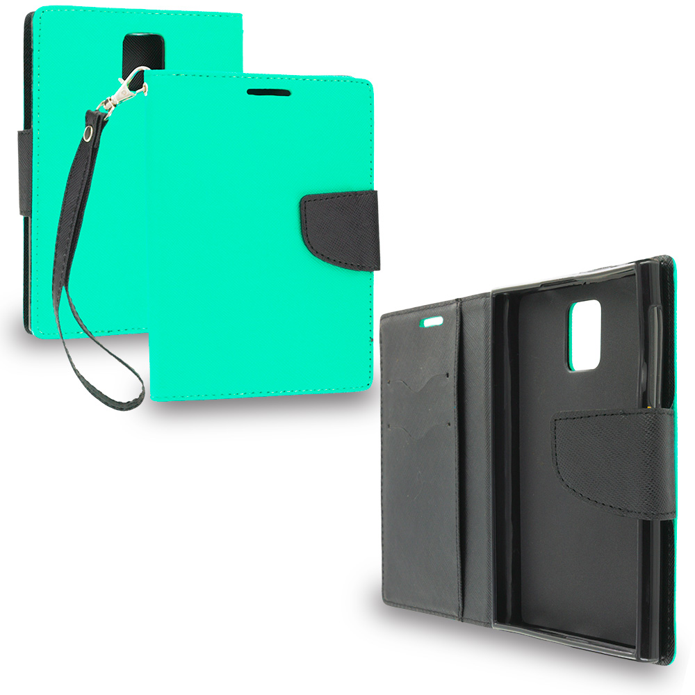 Blackberry Passport Mint Green / Black Leather Flip Wallet Pouch TPU Case Cover with ID Card Slots