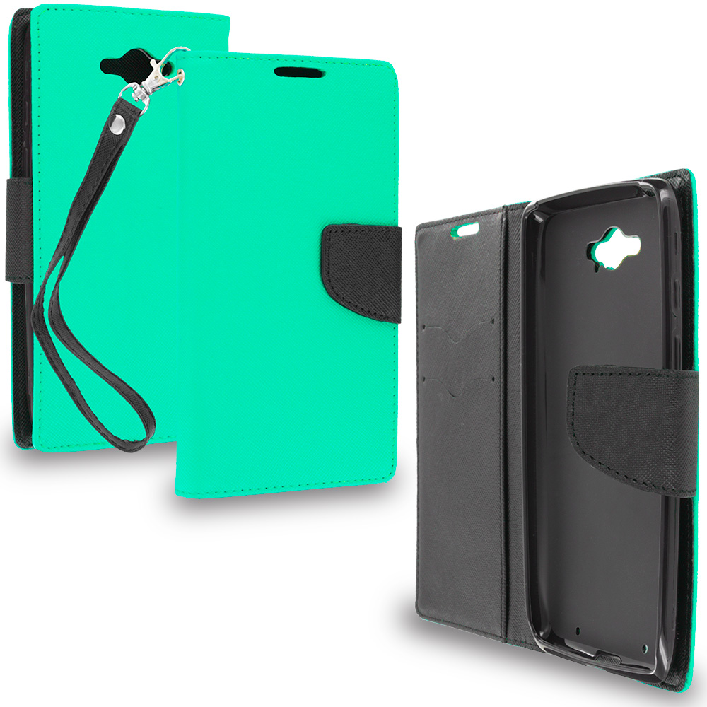 Motorola Droid Turbo Mint Green / Black Leather Flip Wallet Pouch TPU Case Cover with ID Card Slots
