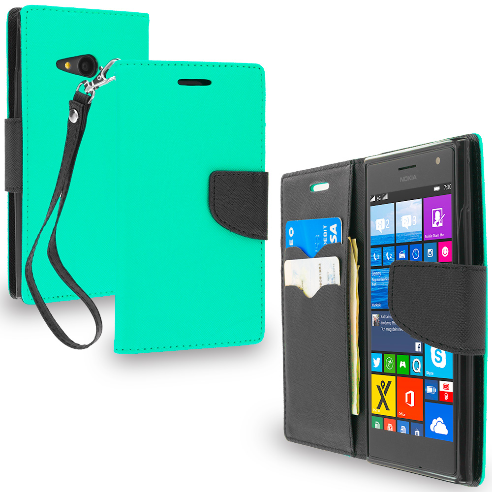 Nokia Lumia 730 735 Mint Green / Black Leather Flip Wallet Pouch TPU Case Cover with ID Card Slots