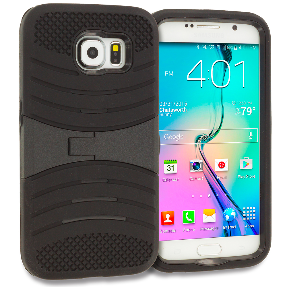 Samsung Galaxy S6 Black / Black Hybrid Heavy Duty Shockproof Case Cover with Stand
