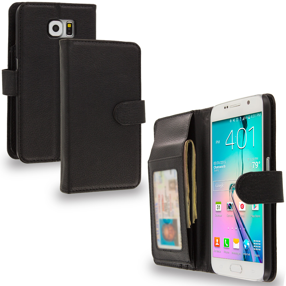 Samsung Galaxy S6 Black Money Leather Wallet Pouch Case Cover with Slots