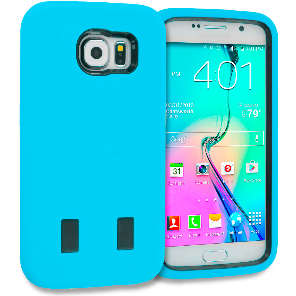 Samsung Galaxy S6 3 in 1 Combo Bundle Pack - Hybrid Deluxe Hard/Soft Case Cover : Color Baby Blue / Black