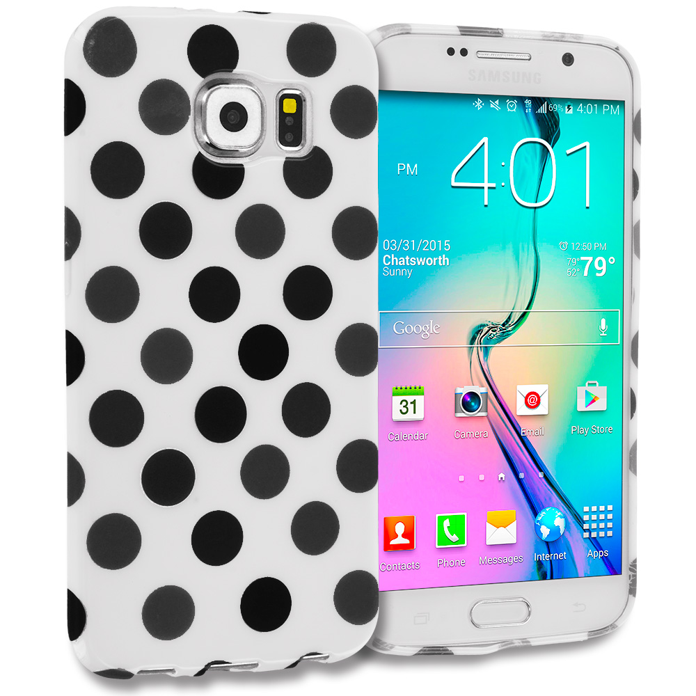 Samsung Galaxy S6 Combo Pack : Black / White TPU Polka Dot Skin Case Cover : Color White / Black