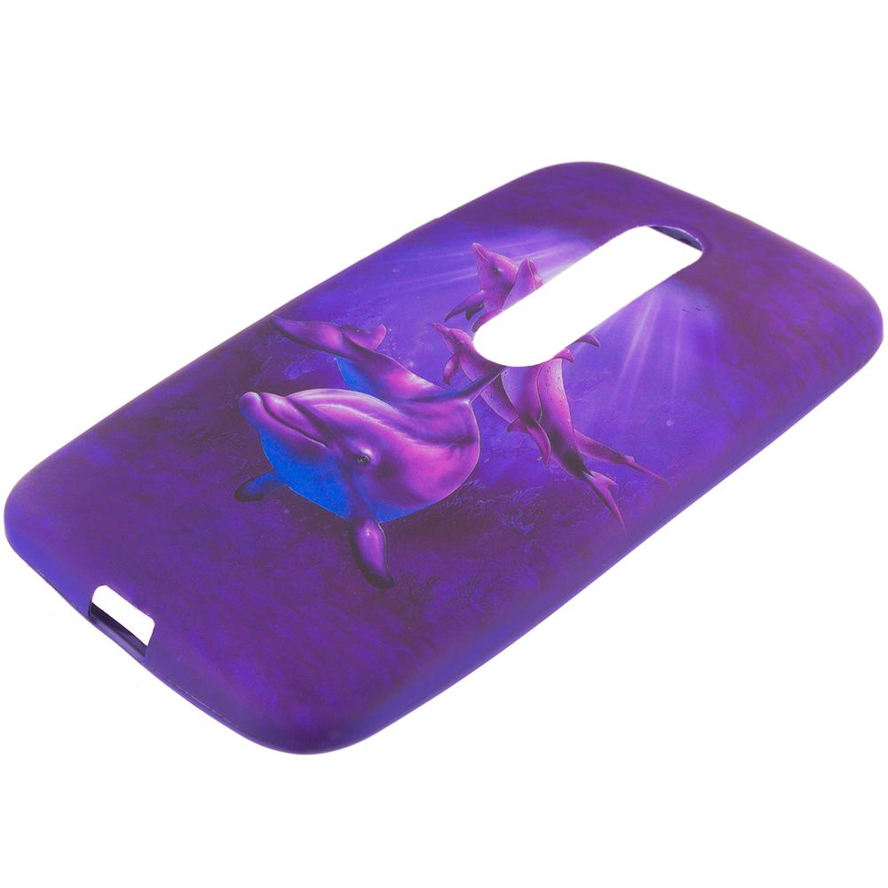 Motorola Moto G 3rd Gen 2015 Purple Dolphin TPU Design Soft Rubber Case Cover