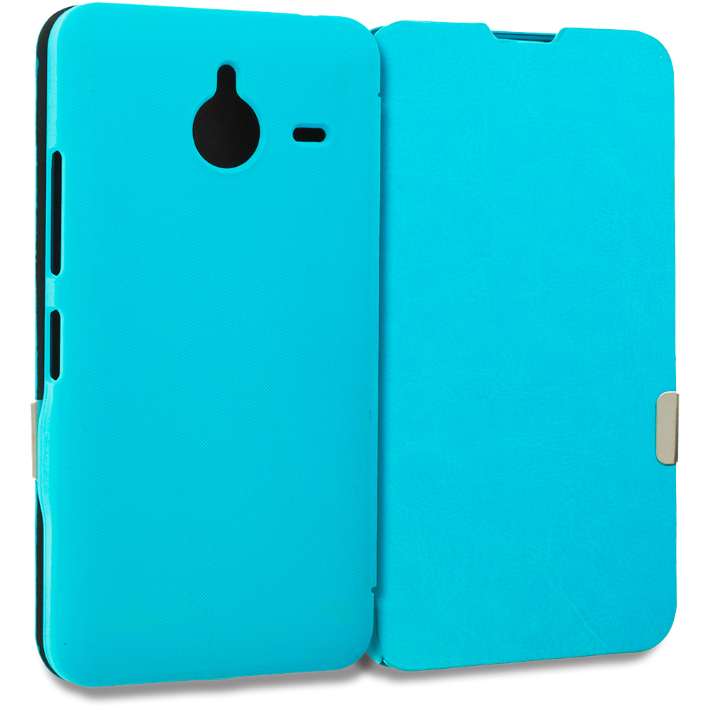 Microsoft Lumia 640 XL Baby Blue Magnetic Flip Wallet Case Cover Pouch