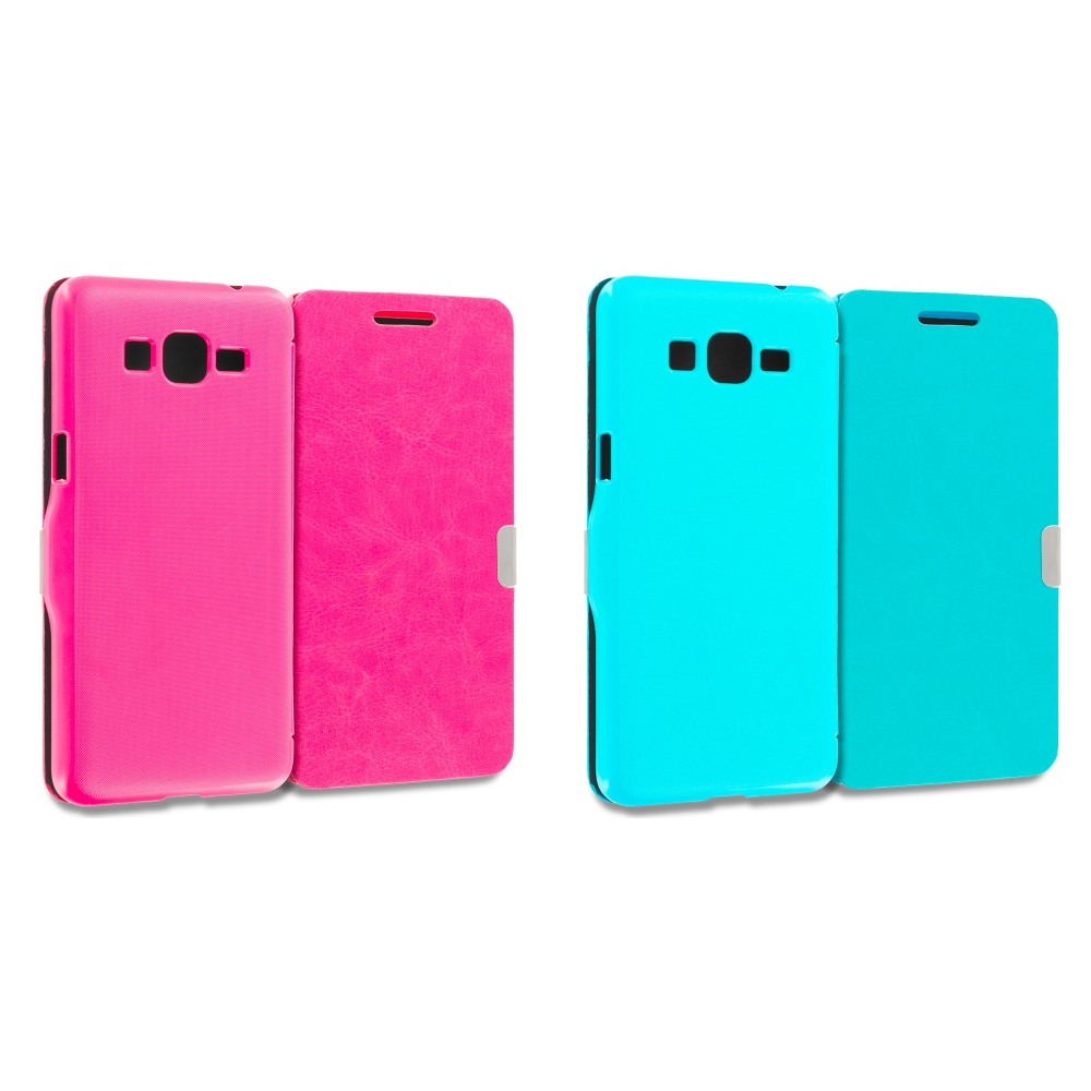 Samsung Galaxy Grand Prime LTE G530 2 in 1 Combo Bundle Pack - Hot Pink Baby Blue Magnetic Flip Wallet Case Cover Pouch