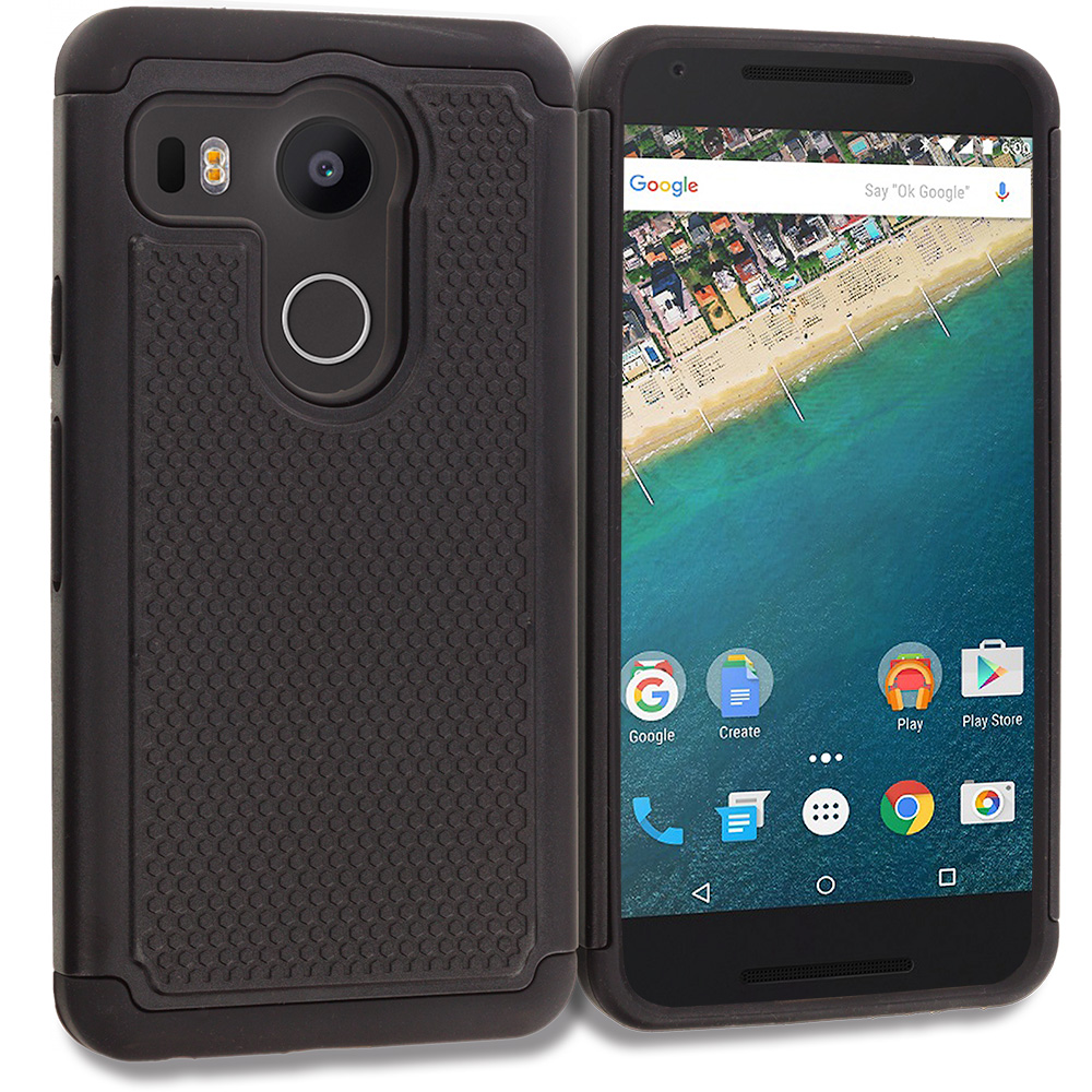 LG Google Nexus 5X Black Hybrid Rugged Grip Shockproof Case Cover