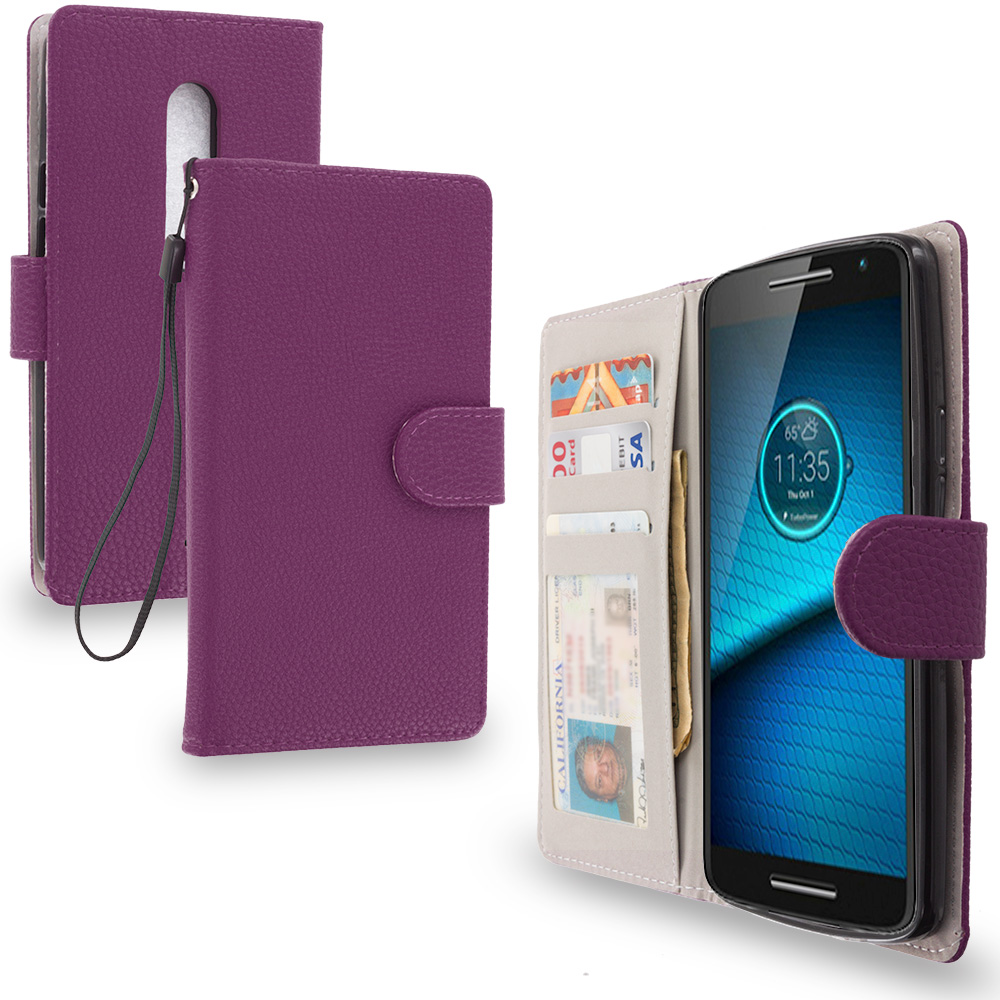 Motorola Droid Maxx 2 XT1565 Purple Leather Wallet Pouch Case Cover with Slots