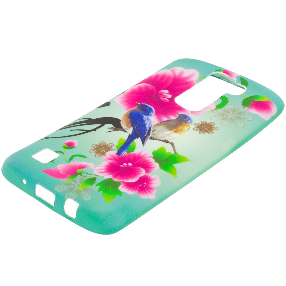 LG Tribute 5 K7 Blue Bird Pink Flower TPU Design Soft Rubber Case Cover