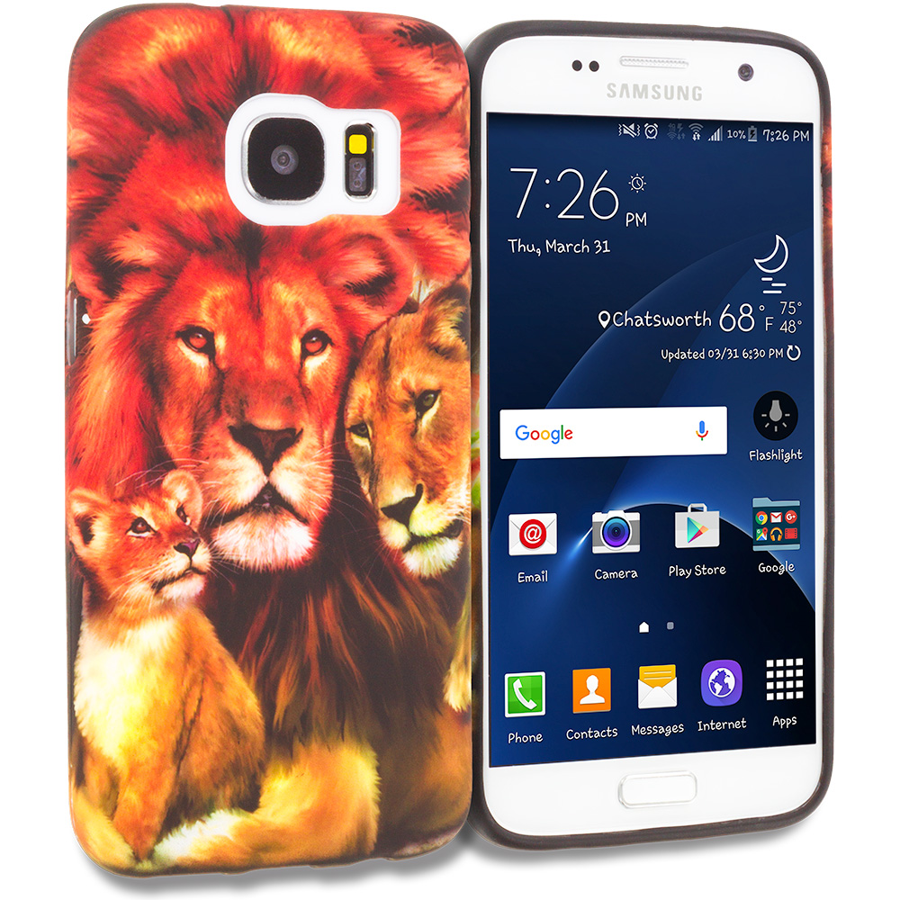 Samsung Galaxy S7 Combo Pack : Dog Paw TPU Design Soft Rubber Case Cover : Color Lion Family