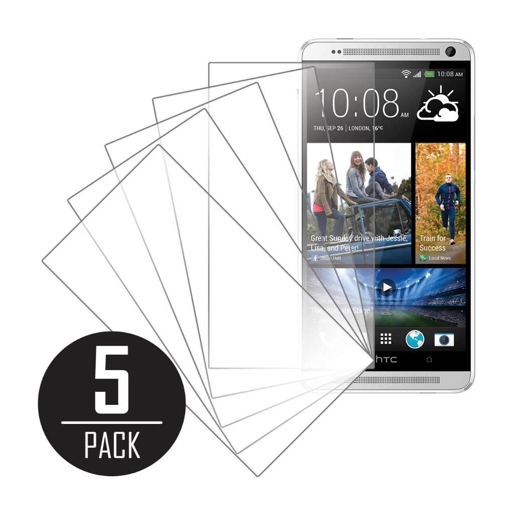 HTC One Max MPERO 5 Pack of Clear Screen Protectors