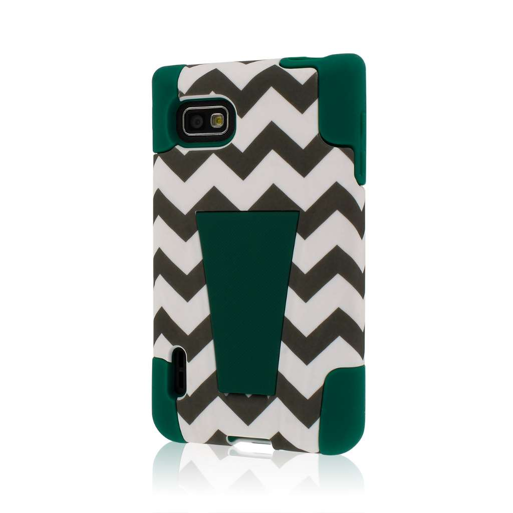 LG Optimus F3 MS659 - Teal Chevron MPERO IMPACT X - Kickstand Case Cover