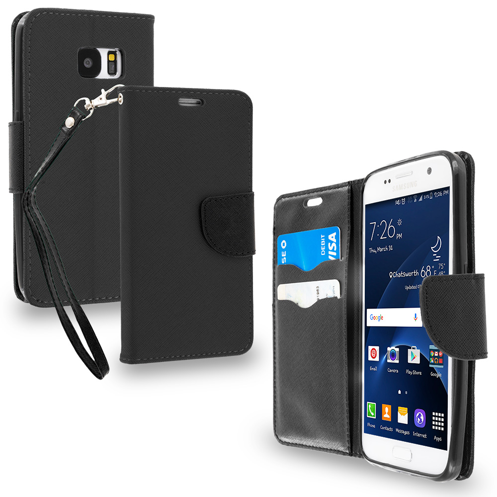 Samsung Galaxy S7 Combo Pack : Black / Black Leather Flip Wallet Pouch TPU Case Cover with ID Card Slots : Color Black / Black