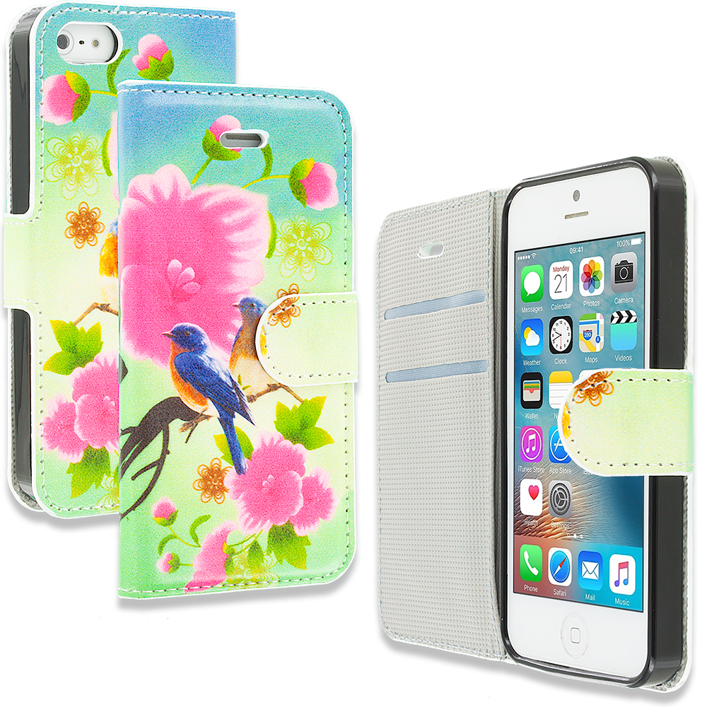 Apple iPhone 5/5S/SE Blue Bird Pink Flower Design Wallet Flip Pouch Case Cover with Credit Card ID Slots