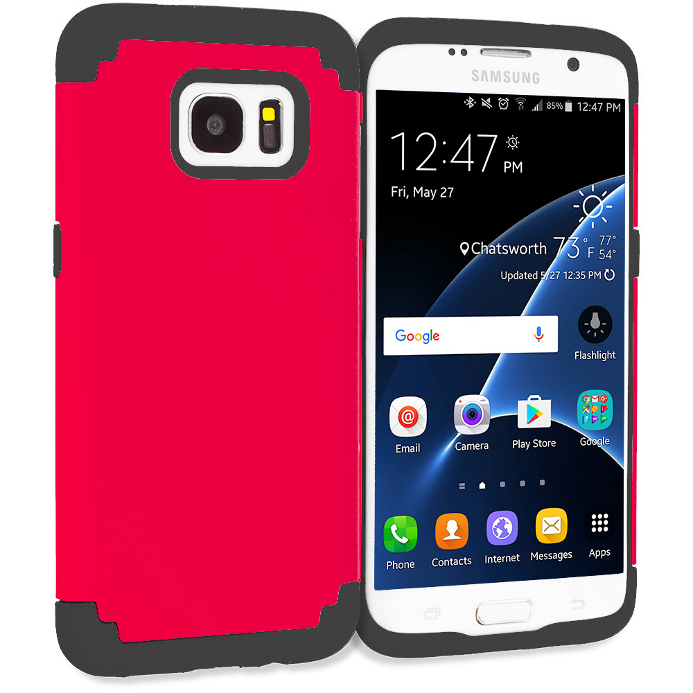 Samsung Galaxy S7 Edge Red / Black Hybrid Slim Hard Soft Rubber Impact Protector Case Cover