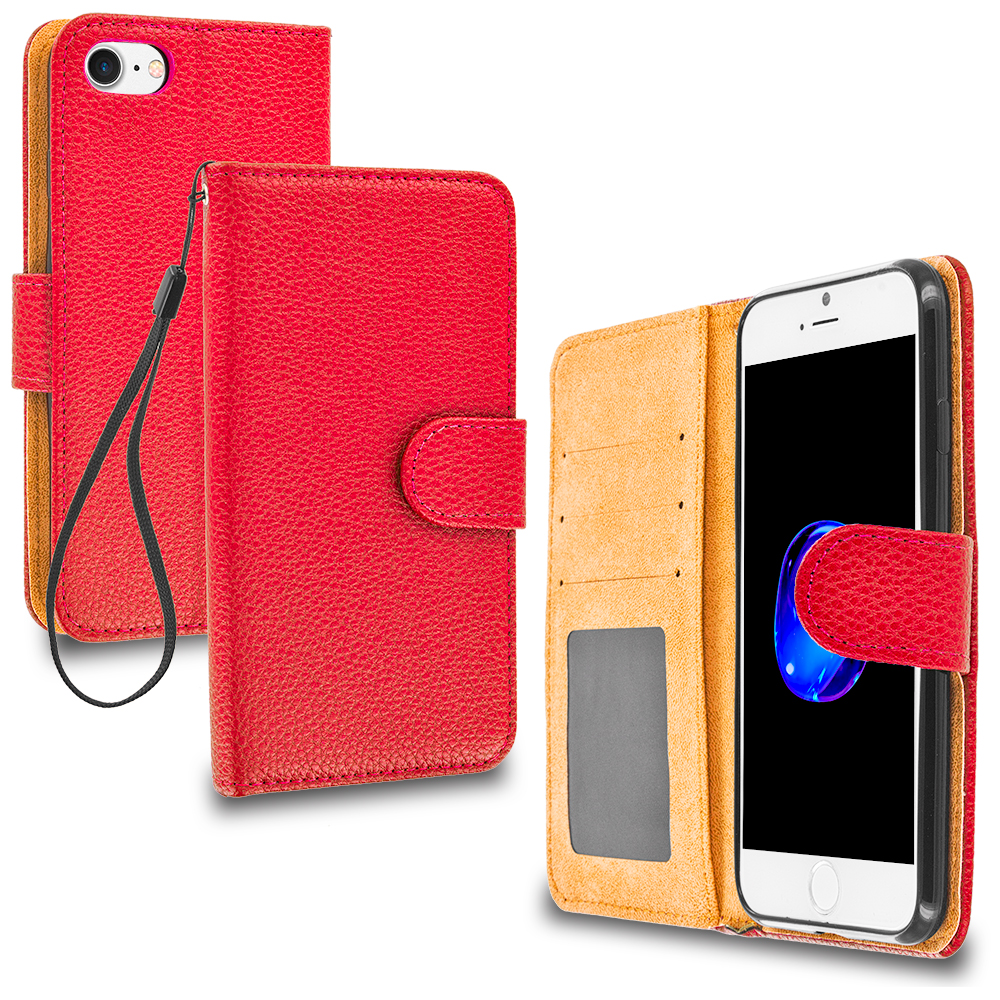 Apple iPhone 7 Red Leather Wallet Pouch Case Cover with Slots