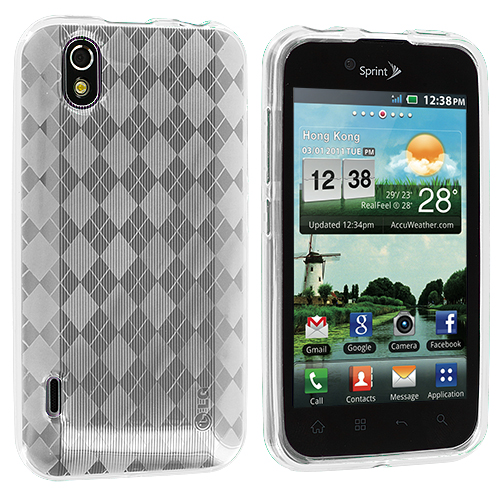 LG Optimus Black P970 / Marquee Clear Checkered TPU Rubber Skin Case Cover