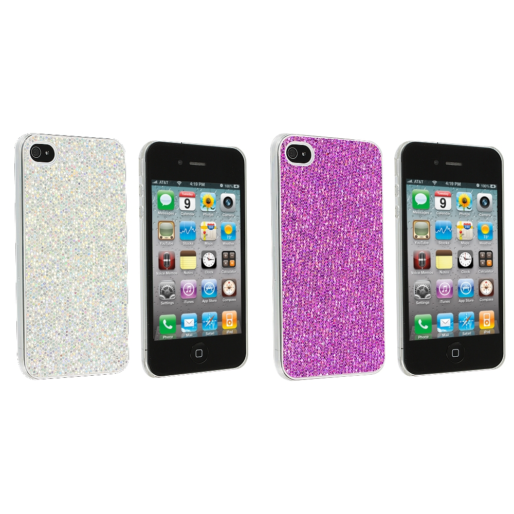Apple iPhone 4 / 4S 2 in 1 Combo Bundle Pack - Silver Purple Glitter Case Cover