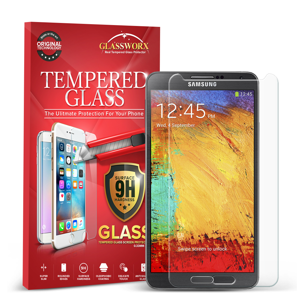 Samsung Galaxy Note 3 N9000 GlassWorX HD Clear Tempered Glass Screen Protector